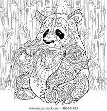Zentangle Stylized Cartoon Panda Sitting Among Bamboo Stems Sketch For Adult Antistress Coloring Page