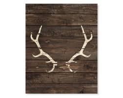 Antler Art Print Deer Antlers Faux Wood Hunting