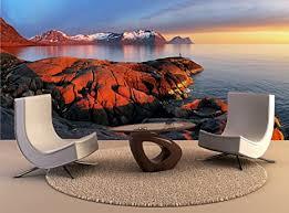 wandschmuck für wohnzimmer ozean berg panorama