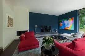 wohnzimmer wandgestaltung mit hague blue farrow and