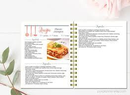 recettes cuisines livre de cuisine modifiable recette de modèle motif de pages de