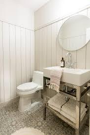 chrome washstand on gray mosaic cement tile floor cottage bathroom