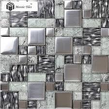 Crystal Glass Tile Glossy Mosaics Silver Inner Crackle Grain
