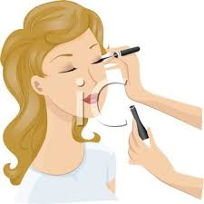 Make Up Artist Applying Eyeliner to a Young Woman Royalty Free Clip Art Picture