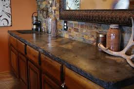 Best Idea Of Rustic Kitchen Countertops With Stone Backsplash
