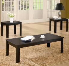 Awesome Rustic Living Room Furniture Ideas Black Lacquered Wood Table Beige Shag Area Rug Showing Off