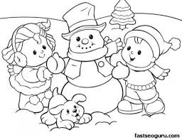 Printabel Coloring Sheet Of Christmas Kids And Snowman Print