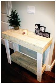 Small DIY Console Table Made From Reclaimed Wood For Narrow Hallway Spaces With Storage And Painted White Color Decor Ideas