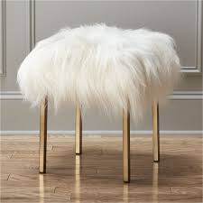 Fuzzy Sheepskin Stool