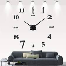 diy 3d wanduhren modern design acryl wanduhren wandtattoo dekoration fürs wohnzimmer kinderzimmer schwarz