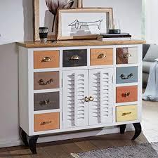 finebuy sideboard fahid 120x105x40 cm vintage stil mango massivholz metall design kommode schmal bunt dielenkommode standschrank hoch anrichte
