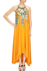 mango yellow embroidered asymmetrical maxi dress available only at