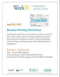 Resume Writing Workshop April 26
