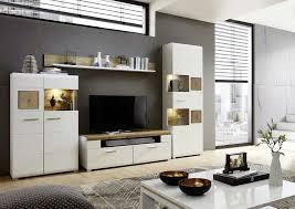 details zu wohnwand schrankwand anbauwand wohnzimmer set 2 plus weiß holz licht