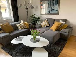 sofa 2 zweisitzer und 2er hocker wohnzimmer grau
