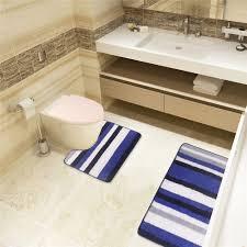 weichen bequemen blau und weiß chenille bad set 2 stück nicht slip badematte und teppiche für wc schöne blaue streifen linie