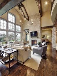 Rustic Living Room With Crate And Barrel Driftwood Coffee Table TV Wall Mount Exposed