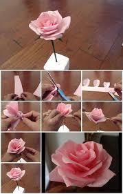 Diy Tissue Paper Rose Flower Stepstep Tutorial