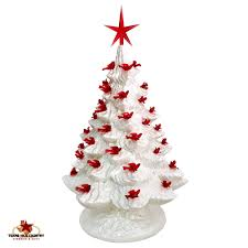 White Ceramic Christmas Tree 16 Inch Tall Mother Of Pearl With Red