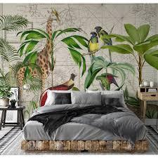 living walls fototapete artist palm tree map dschungel giraffe vlies glatt