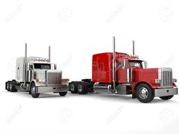 100 18 Wheeler Trucks Raging Red And Bright White Stock Photo Picture