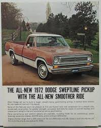 100 1972 Dodge Truck Sweptline Pickup Data Sheet With Specifications Original