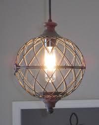Rustic Small Metal Globe Pendant Light