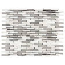 Jeffrey Court Mosaic Tile by Jeffrey Court Whispering Cliffs Grey Limestone White 11 1 2 In X