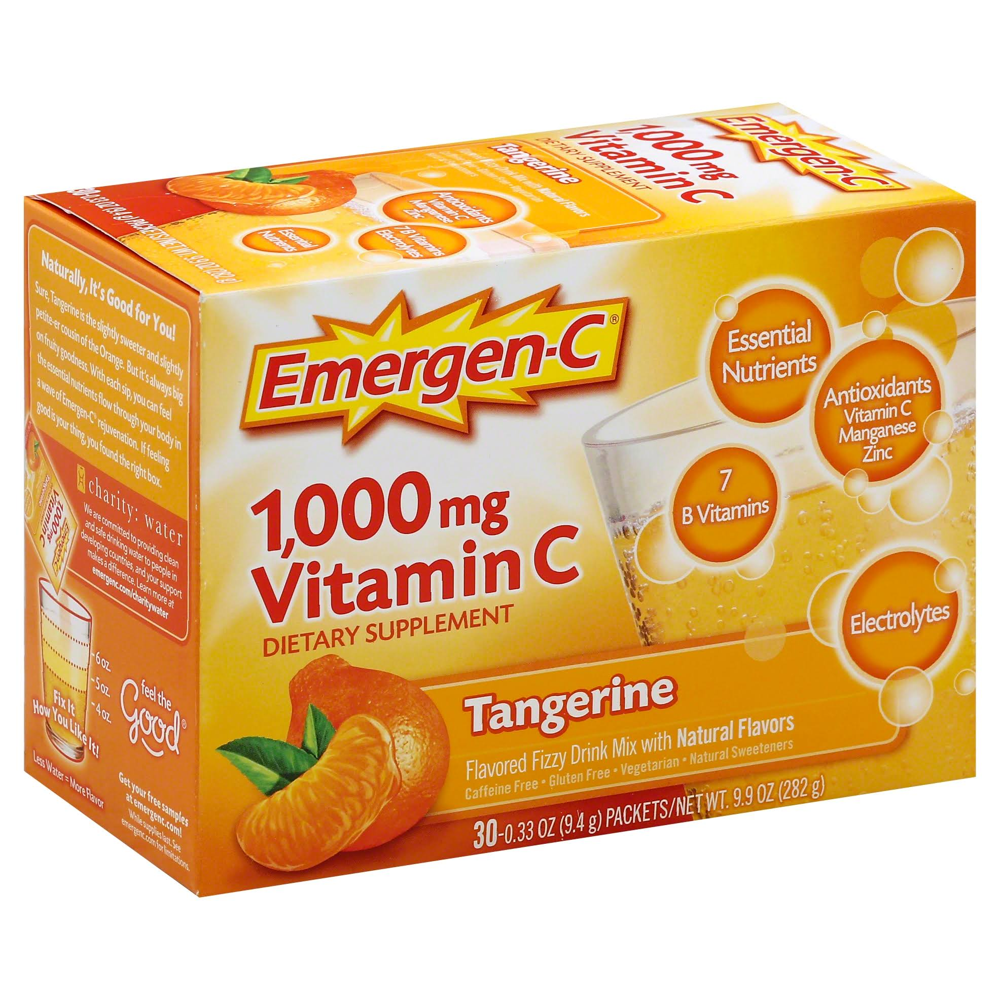 Emergen-C Tangerine Vitamin C Flavored Fizzy Drink Mix Supplement - 1,000mg, 0.33oz, 30ct