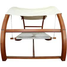 leisure season 10 1 2 foot wood outdoor swing bed with canopy
