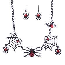 Conjunto De Pendiente De Collar Corto De Tela De Araña Creativa Nueva Personalidad De Halloween