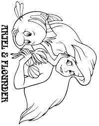 Ariel And Flounder Coloring Pages
