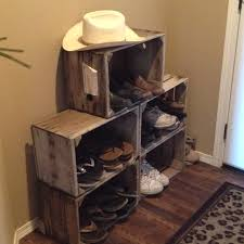 Grape Crates As A Shoe Rack Love The Rustic Look Of It Lots