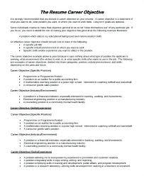 Sample Of Objectives For Resume Samples