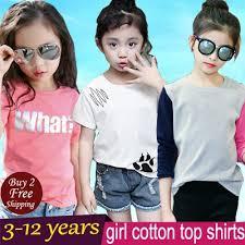 2018 New Korea Dress Girl Gal Cotton Top Shirts Kid Clothes Tee Vest