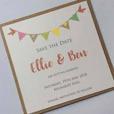 Rustic Style Save The Date Card Featuring Coloured Printed Bunting And Cute Lovebirds