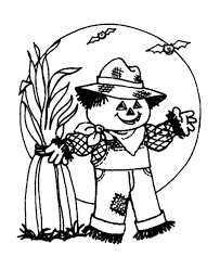 Scary Scarecrow Moon Halloween Coloring Pages
