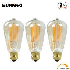 3pcs pack st64 8w dimmable edison style vintage led filament light
