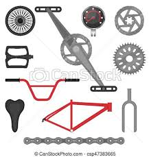 Set Of Parts For Bmx Bike Off Road Sport Bicycle Vector