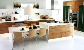 Kitchen Island With Round Table At End Seating Attached Mit Leicht Skandinavischem Dining