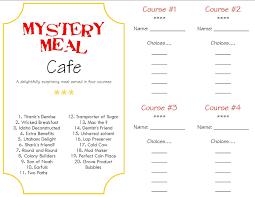 Ideas For Halloween Breakfast Foods by Mystery Dinner Menus Make A Memory Mystery Dinner Program