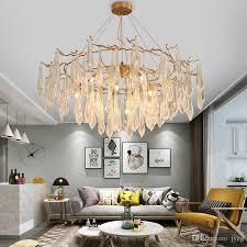 großhandel amerikanischen wohnzimmer schlafzimmer ast pendelleuchten gold farbe eisen kristall pendelleuchte hotel project g9 schnittstelle