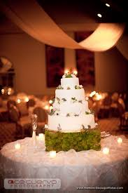 Rustic Chic Wedding Cake With Green Moss Cake Stand