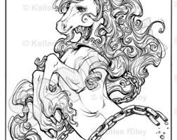 Unicorn Adult Coloring Pages Kelleeart On Etsy