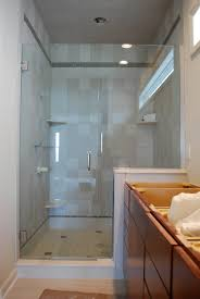 bathroom shower stall kits with silver handle and tile