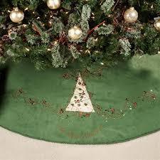 Jeweled Green Tree Skirt Beige 56 Diameter
