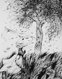 Pen And Ink Drawing Season Falling Leaves by Anna Duyunova