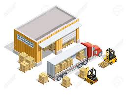 Warehouse Isometric Template With Storage And Forklifts Loading Cargo Into Truck Vector Illustration Archivio Fotografico