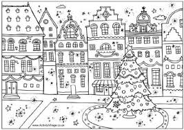 Christmas Village Coloring Pages Street Colouring Page Intended For Scene
