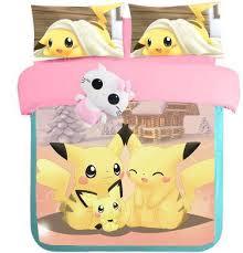 NEW pikachu bed girls Mermaid print bedding full Queen King size